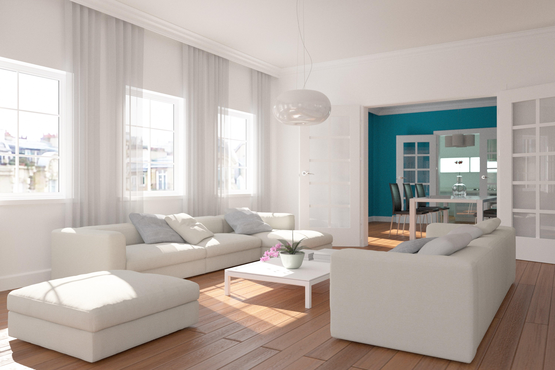 biały pokój, sofa, pufa, okna, stół